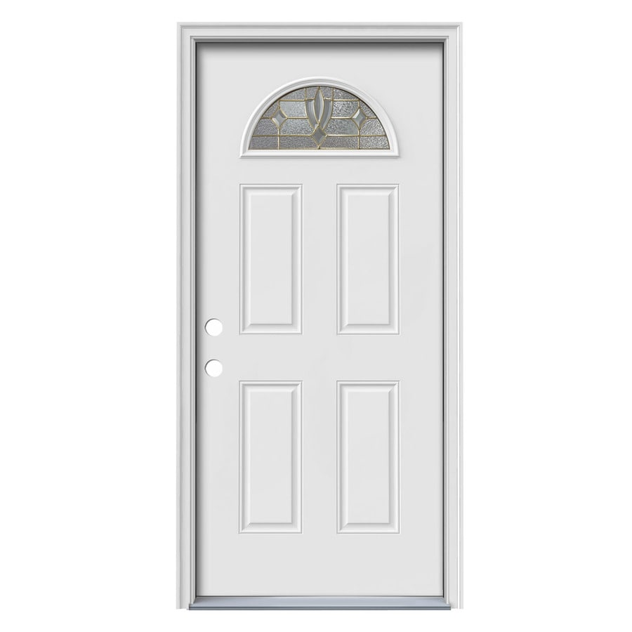 ReliaBilt Laurel Decorative Glass Right-Hand Inswing Primed Steel Prehung Entry Door with Insulating Core (Common: 36-in x 80-in; Actual: 37.5-in x 81.7-in)