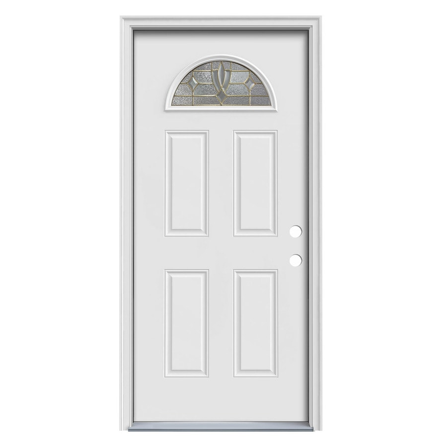 ReliaBilt Laurel Decorative Glass Left-Hand Inswing Steel Primed Entry Door (Common: 36-in x 80-in; Actual: 37.5-in x 81.7-in)