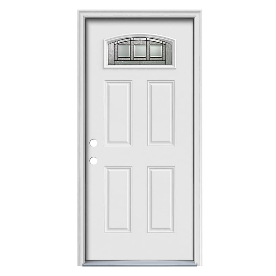 ReliaBilt Craftsman Decorative Glass Right-Hand Inswing Steel Primed Entry Door (Common: 36