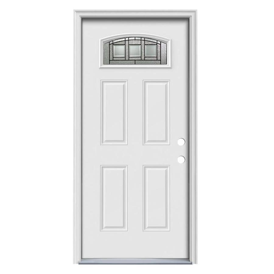 ReliaBilt Decorative Glass Left-Hand Inswing Primed Steel Prehung Entry Door with Insulating Core (Common: 36-in x 80-in; Actual: 37.5-in x 81.5-in)