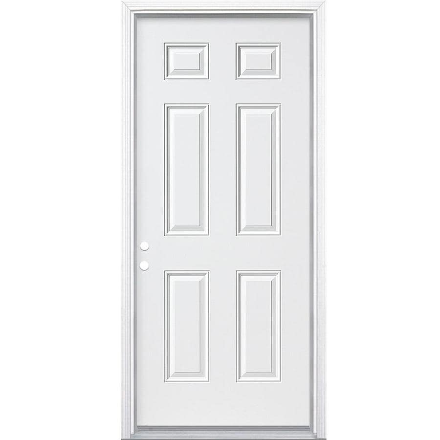 ReliaBilt 6-Panel Insulating Core Right-Hand Inswing Steel Primed Prehung Entry Door (Common: 30-in x 80-in; Actual: 31.5-in x 81.5-in)