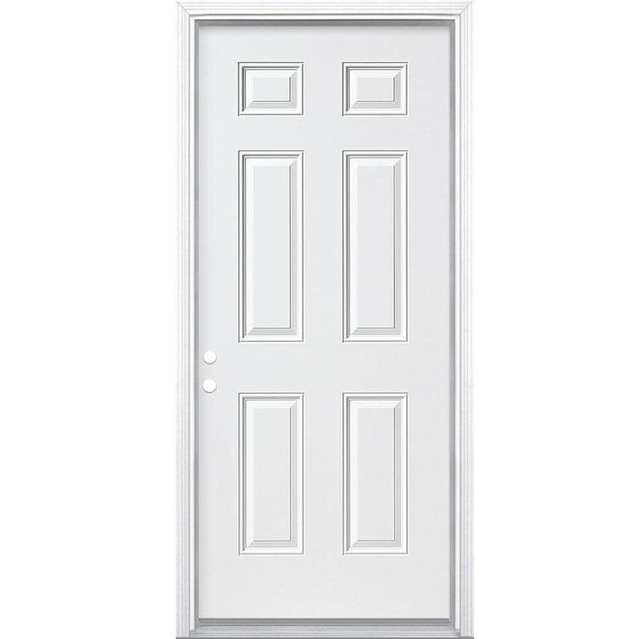 Attirant ReliaBilt Right Hand Inswing Primed Steel Prehung Solid Core Entry Door  (Common: 30