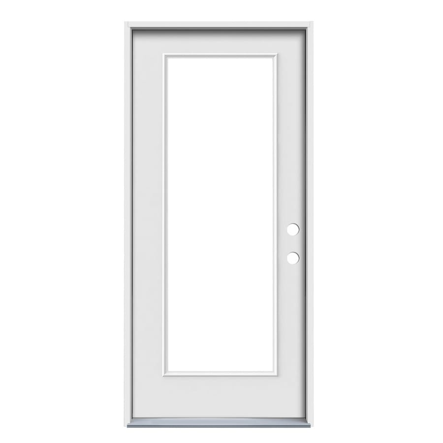 ReliaBilt Decorative Glass Left-Hand Inswing Primed Steel Prehung Entry Door with Insulating Core (Common: 32-in x 80-in; Actual: 33.5-in x 81.75-in)