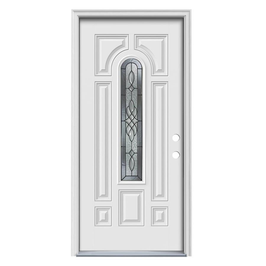 ReliaBilt Hampton 8-Panel Insulating Core Center Arch Lite Left-Hand Inswing Primed White Steel Primed Prehung Entry Door (Common: 36-in x 80-in; Actual: 37.5-in x 81.7-in)