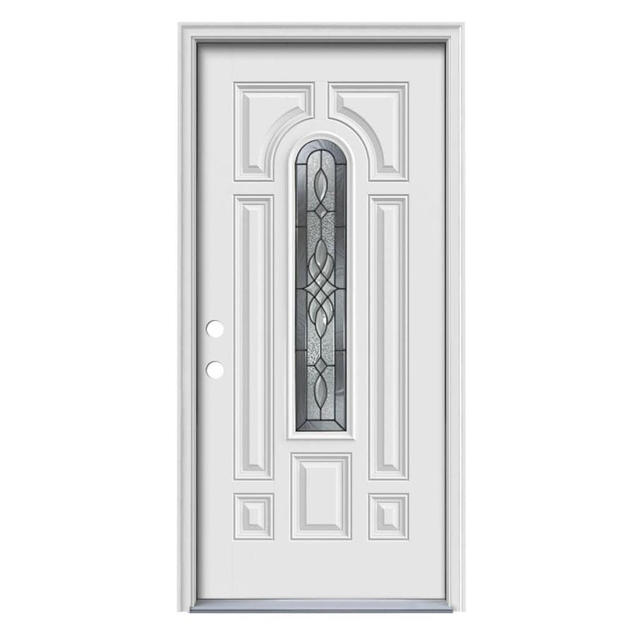 ReliaBilt Hampton Decorative Glass Right-Hand Inswing Primed Steel Prehung Entry Door with Insulating Core (Common: 36-in x 80-in; Actual: 37.5000-in x 81.7000-in)