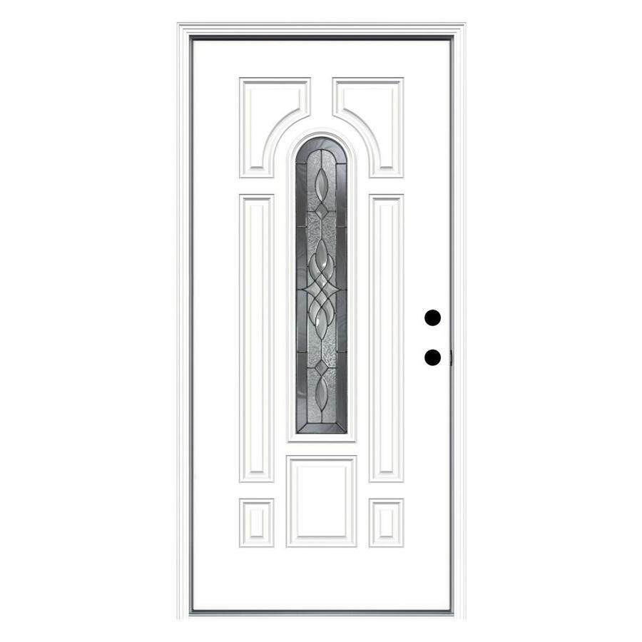 JELD-WEN Hampton Decorative Glass Left-Hand Inswing Steel Primed Entry Door (Common: 36-in x 80-in; Actual: 37.5-in x 81.75-in)