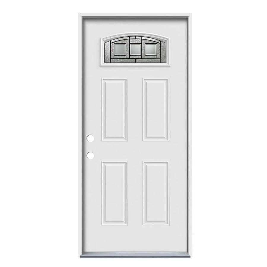 ReliaBilt Craftsman Decorative Glass Right-Hand Inswing Primed Steel Prehung Entry Door with Insulating Core (Common: 36-in x 80-in; Actual: 37.5000-in x 81.7500-in)