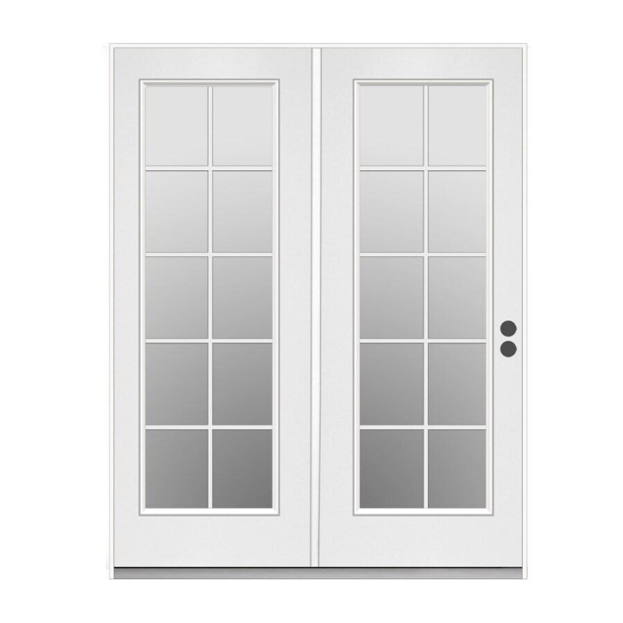 ReliaBilt 59.5-in Dual-Pane 10-Lite Steel French Inswing Patio Door