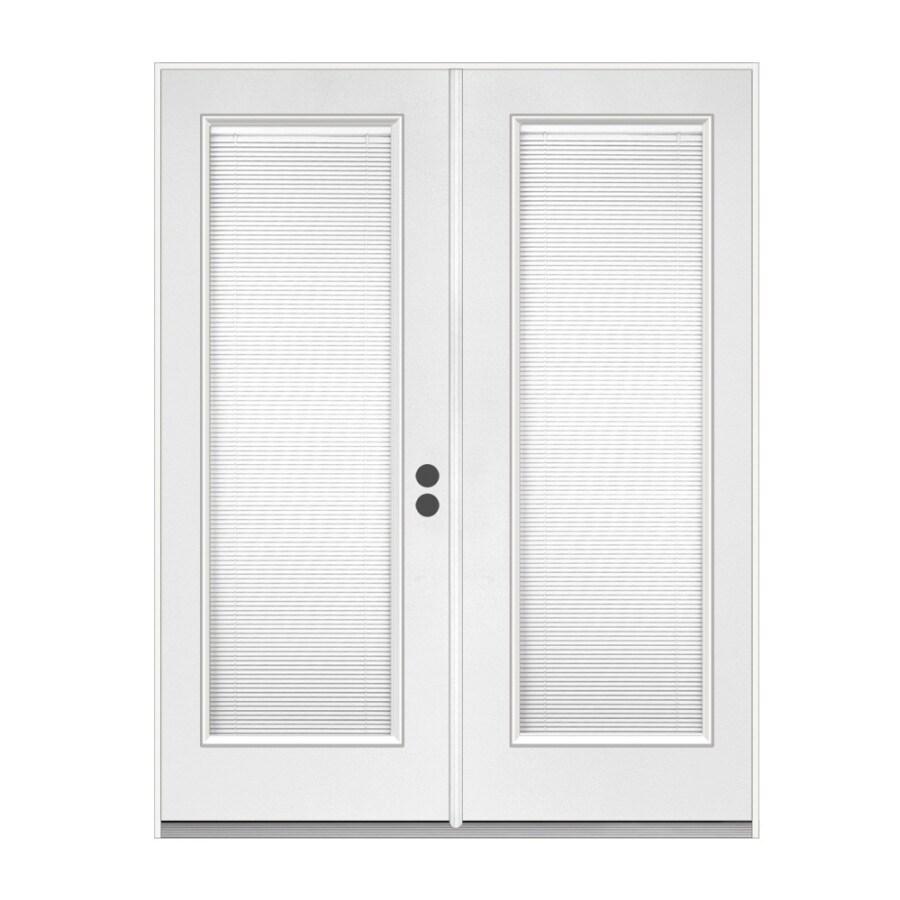 ReliaBilt 71.5-in Dual-Pane Blinds Between The Glass Steel French Inswing Patio Door
