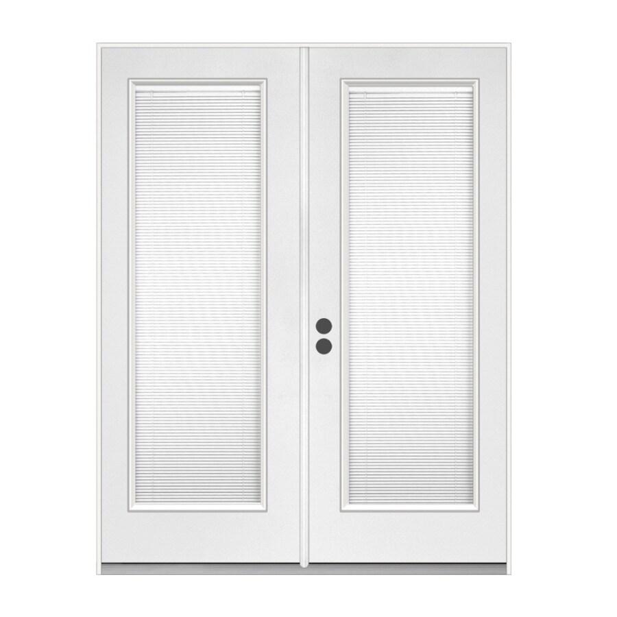 ReliaBilt 59.5-in Dual-Pane Blinds Between The Glass Steel French Inswing Patio Door