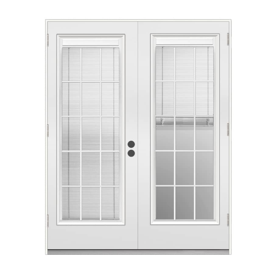 french doors with blinds. ReliaBilt 71.5-in X 78.625-in Blinds Between The Glass Right-Hand Outswing French Doors With N