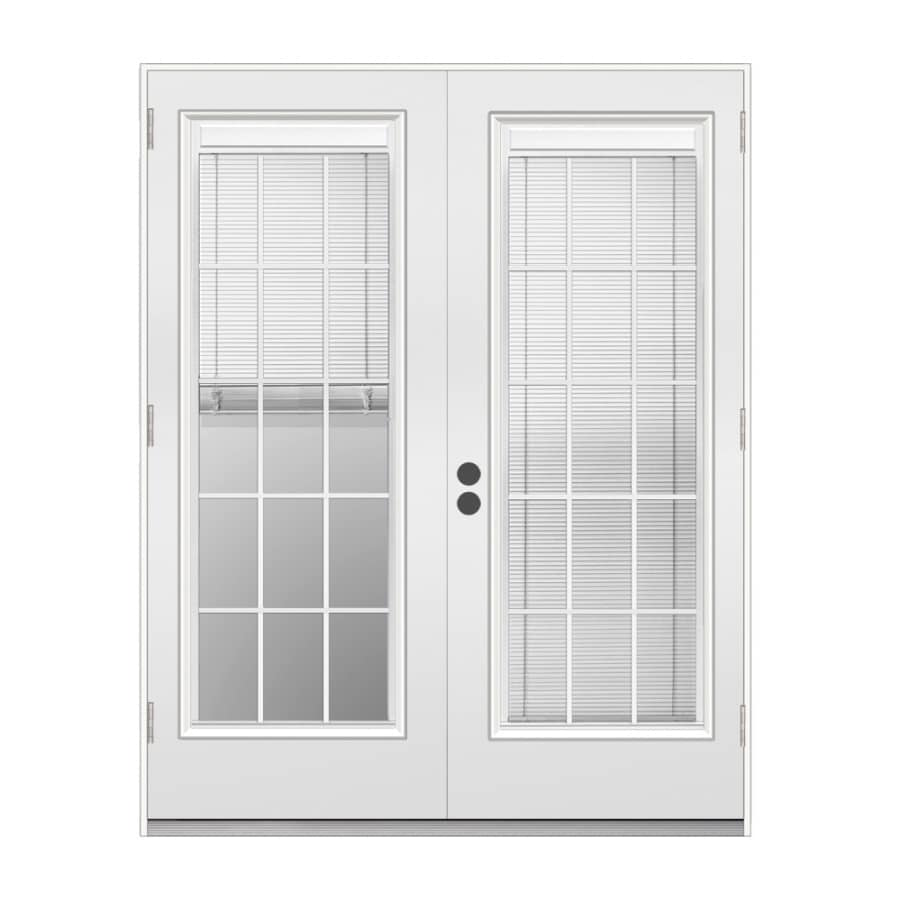 Shop Reliabilt 71 5 In Blinds Between The Glass Primer White Steel French Outswing Patio Door At