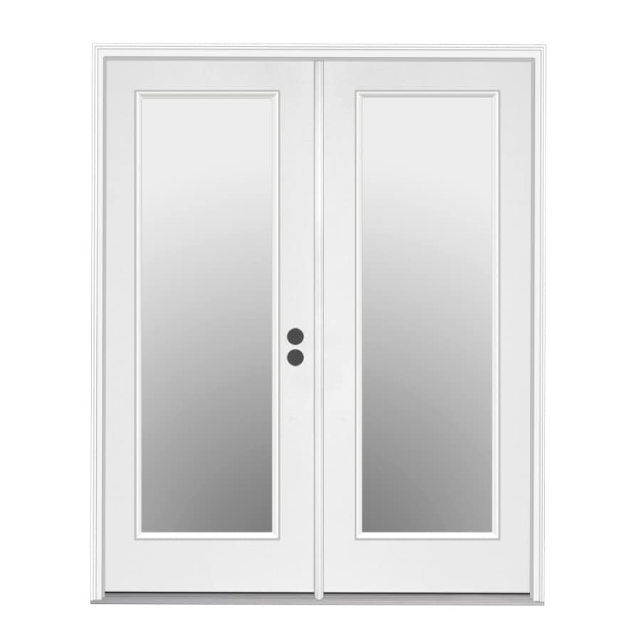 ReliaBilt 59.5-in 1-Lite Glass Primer White Steel French Inswing Patio Door