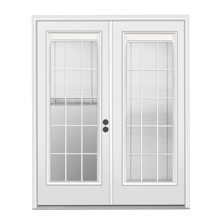 Blinds For French Doors Lowes shop reliabilt 71.5-in blinds between the glass primer white steel
