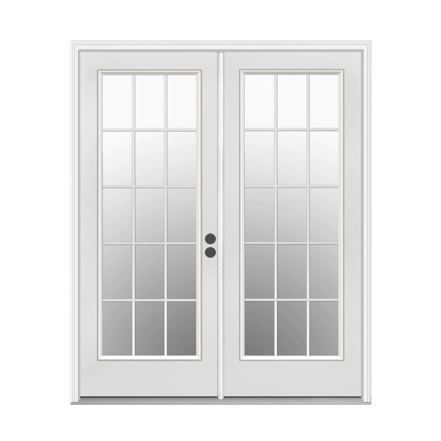 Shop reliabilt 6 39 grid steel french patio door at for Lowes french doors with blinds