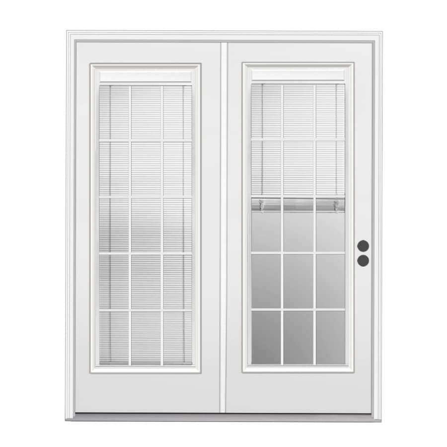 ReliaBilt 71.5-in x 78.625-in Blinds Between the Glass Left-Hand Outswing White Steel French Patio Door