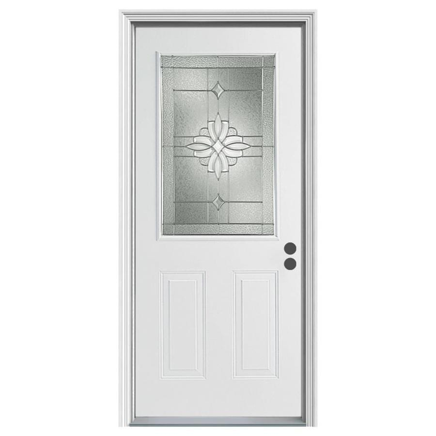 ReliaBilt Laurel Decorative Glass Left Hand Inswing Primed Steel Prehung Entry  Door With Insulating Core