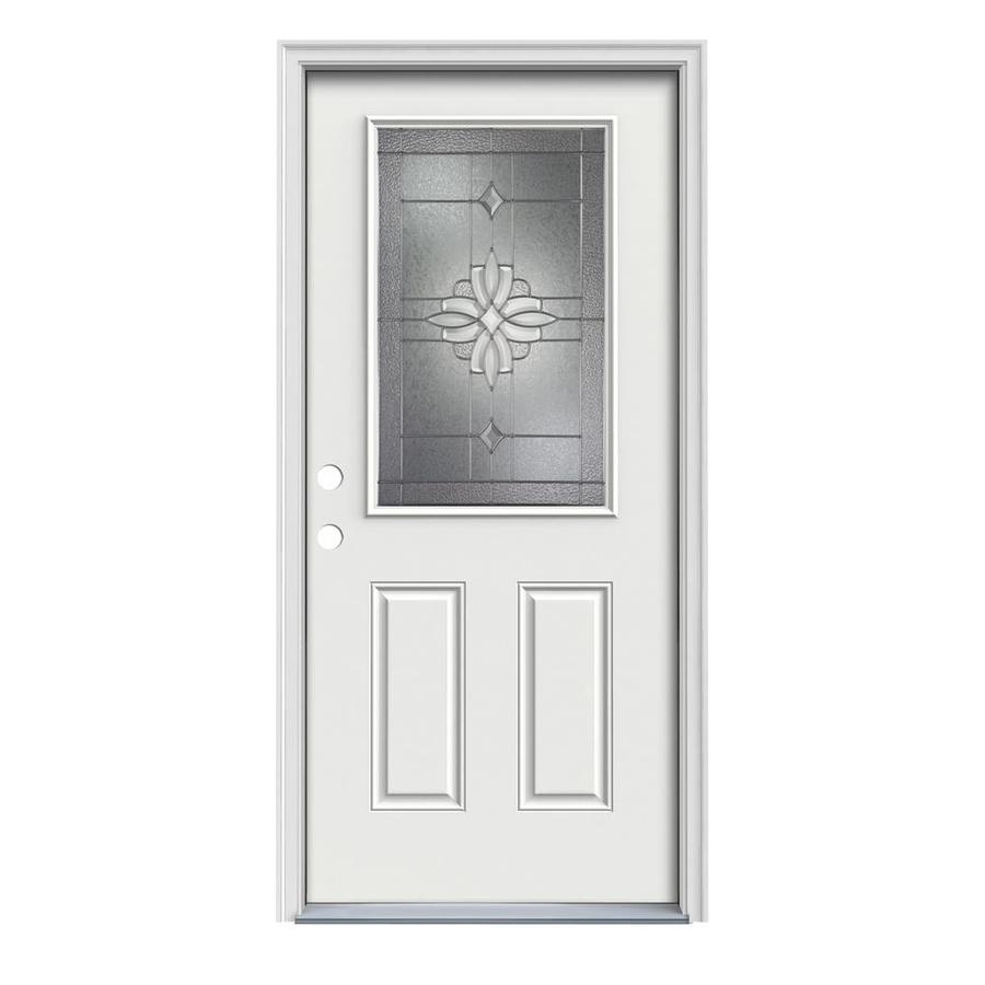 ReliaBilt Laurel Decorative Glass Right-Hand Inswing Steel Primed Entry Door (Common: 32-in x 80-in; Actual: 33.5-in x 81.75-in)