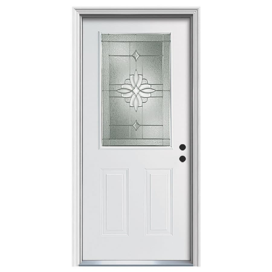 Shop ReliaBilt Laurel Decorative Glass Left Hand Inswing Steel Primed Entry D