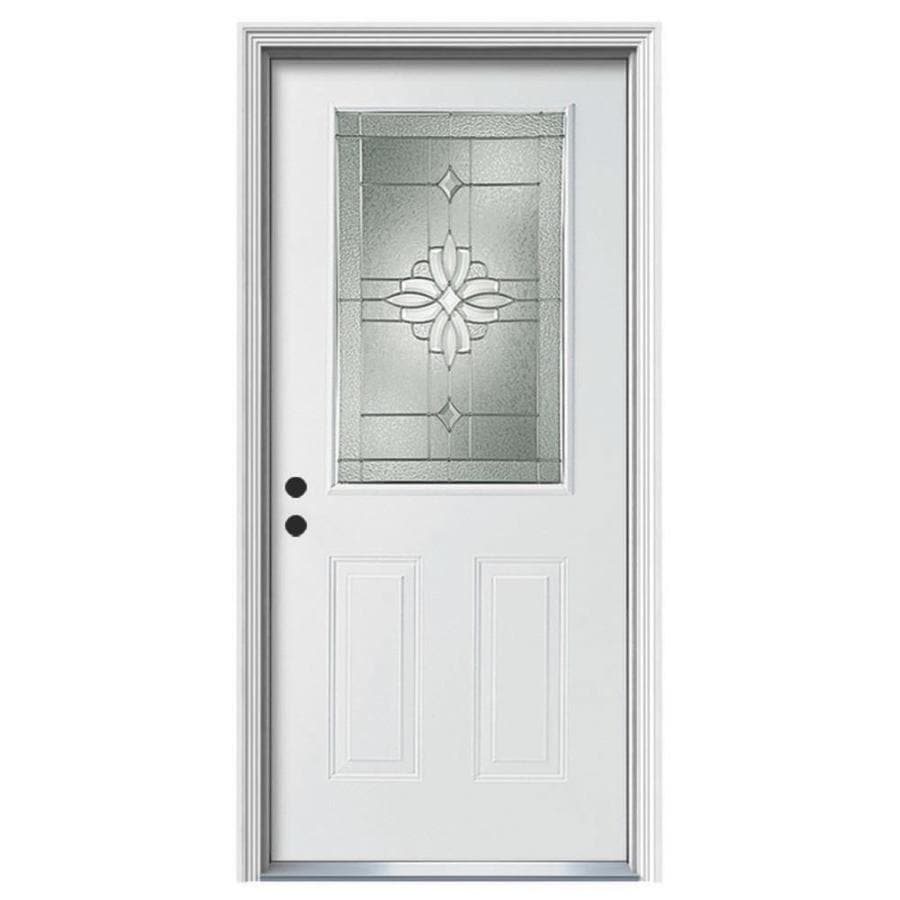 ReliaBilt Laurel Decorative Glass Right-Hand Inswing Steel Primed Entry Door (Common: 36-in x 80-in; Actual: 37.5-in x 81.75-in)