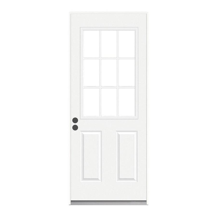 JELD-WEN 2-Panel Insulating Core 9-Lite Right-Hand Inswing Steel Primed Prehung Entry Door (Common: 30-in x 80-in; Actual: 31.5-in x 81.75-in)