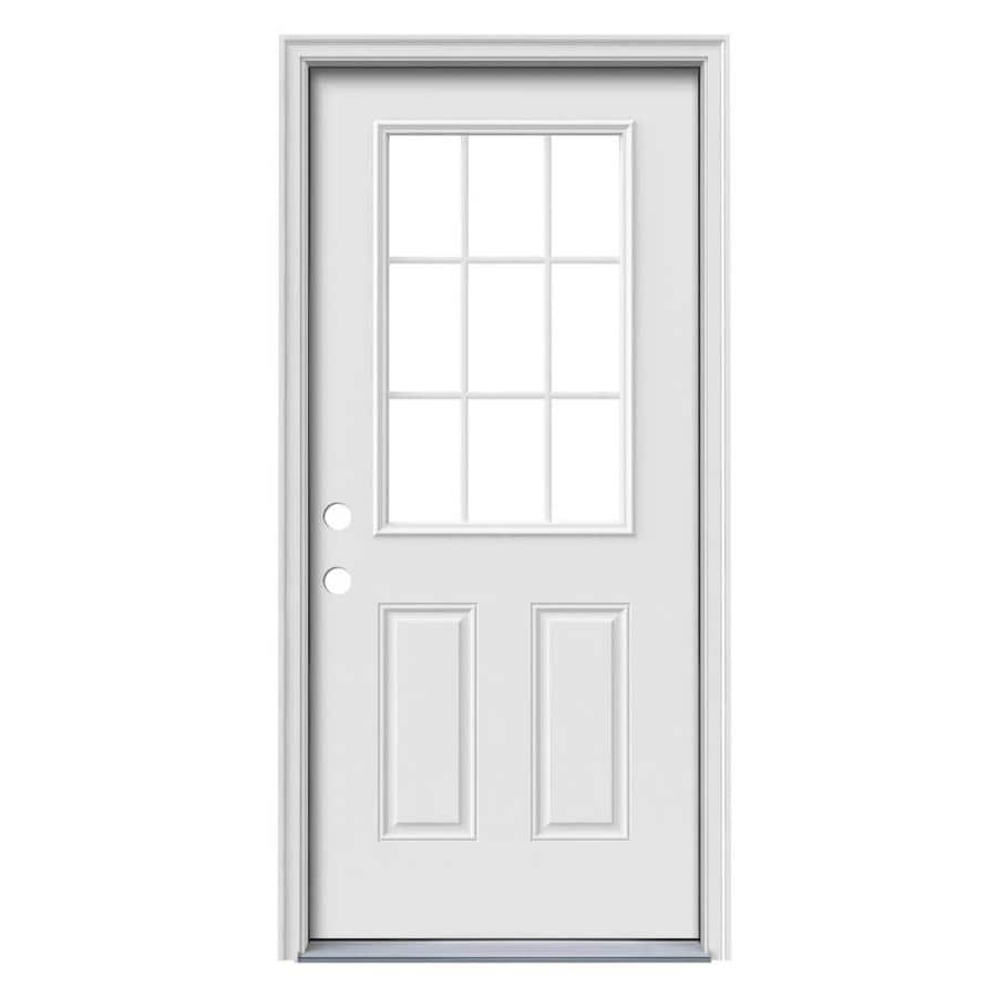 ReliaBilt 2-Panel Insulating Core 9-Lite Right-Hand Inswing Primed Steel Primed Prehung Entry Door (Common: 32.0000-in x 80.0000-in; Actual: 33.5000-in x 81.7500-in)