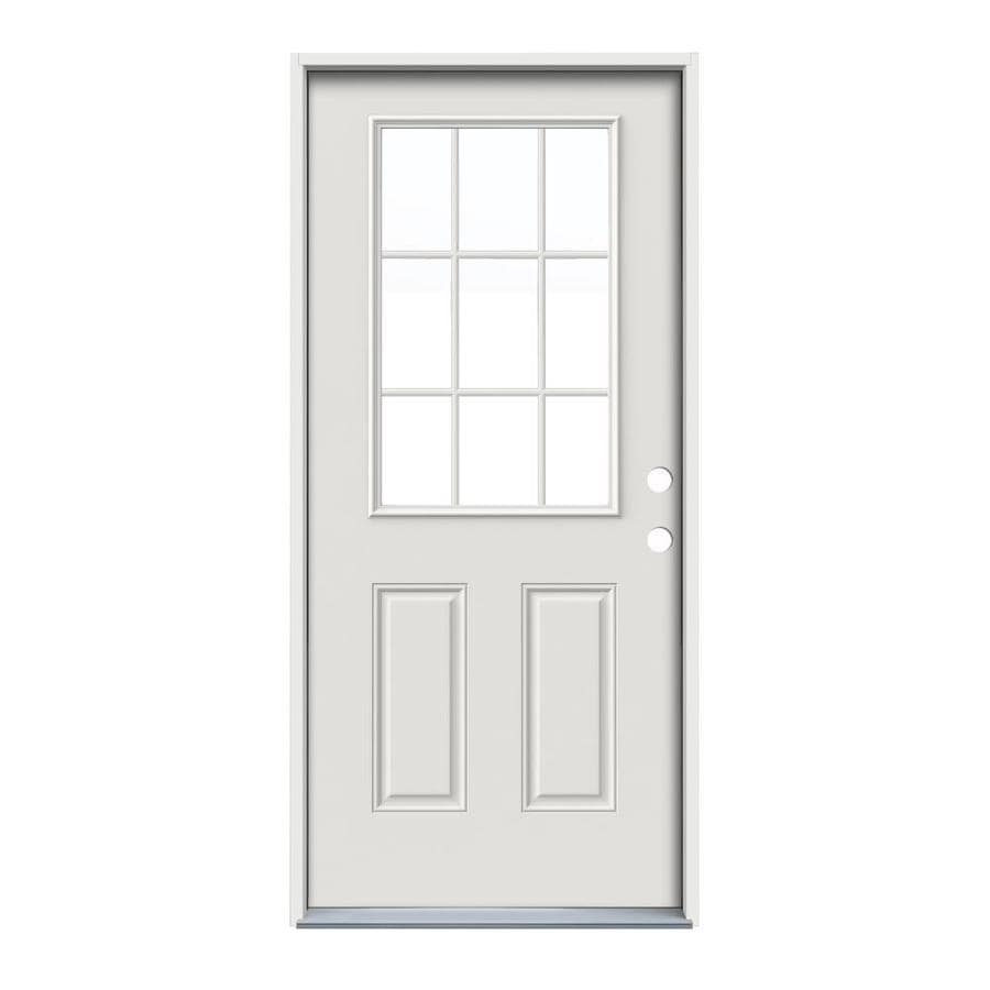 ReliaBilt 2-Panel Insulating Core 9-Lite Left-Hand Inswing Steel Primed Prehung Entry Door (Common: 36-in x 80-in; Actual: 37.5-in x 81.75-in)
