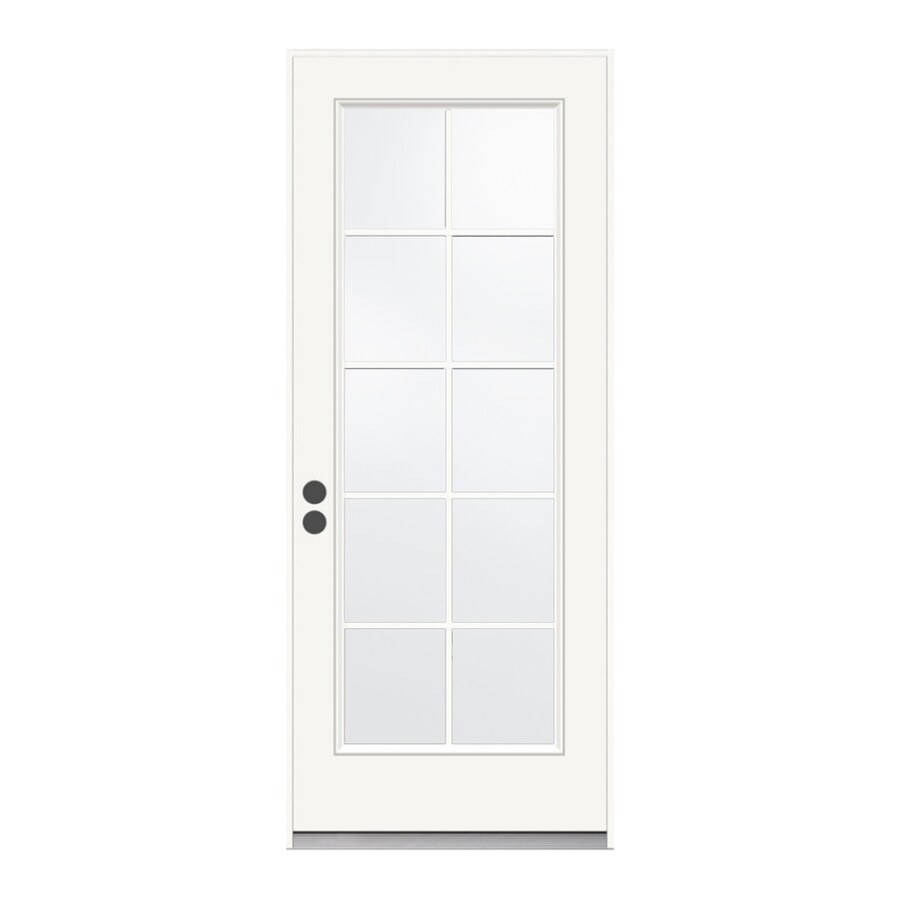 JELD-WEN Grills Between the Glass Right-Hand Inswing Primed Steel Prehung Entry Door with Insulating Core (Common: 32-in x 80-in; Actual: 33.5-in x 81.75-in)