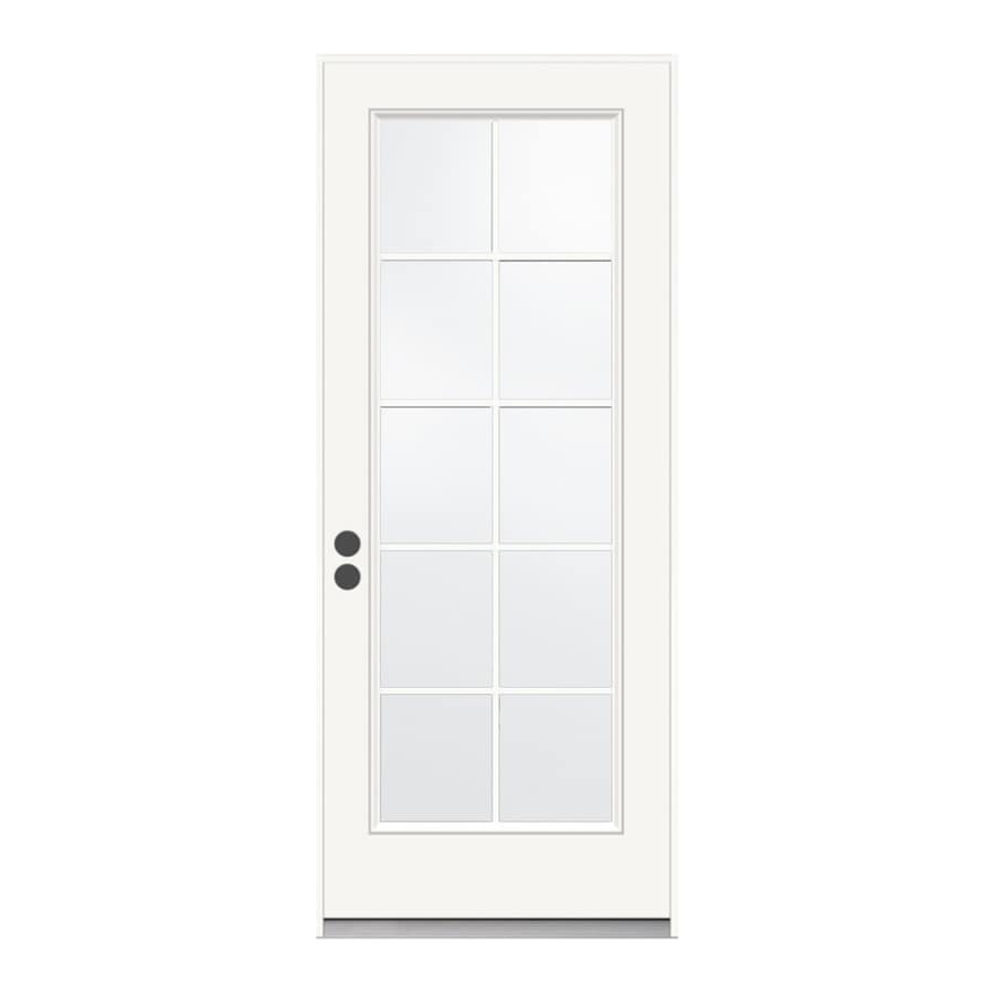 JELD-WEN 1-Panel Insulating Core 10-Lite Right-Hand Inswing Steel Primed Prehung Entry Door (Common: 36-in x 80-in; Actual: 37.5-in x 81.75-in)
