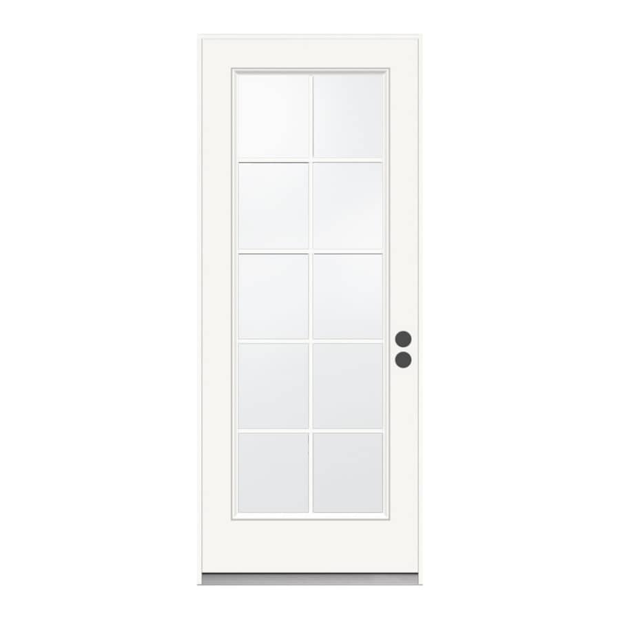 JELD-WEN 1-Panel Insulating Core 10-Lite Left-Hand Inswing Steel Primed Prehung Entry Door (Common: 36-in x 80-in; Actual: 37.5-in x 81.75-in)