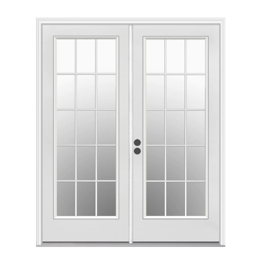 Shop reliabilt 71 5 in 15 lite glass primer white steel for Double doors with glass