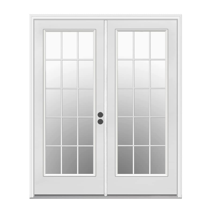 Shop reliabilt 71 5 in 15 lite glass primer white steel for Exterior double doors lowes
