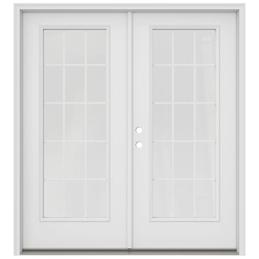 Shop reliabilt 59 5 in x 79 5 in right hand inswing white for White double french doors