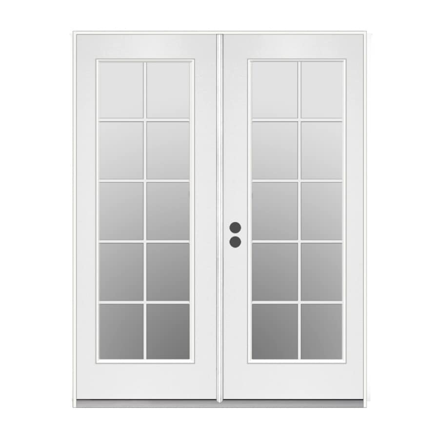 French Exterior Doors Steel: Shop ReliaBilt 59.5-in 10-Lite Glass Primer White Steel