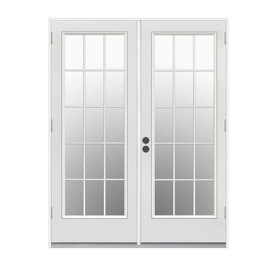 ReliaBilt 71.5 In 15 Lite Glass Primer White Steel French Outswing Patio  Door
