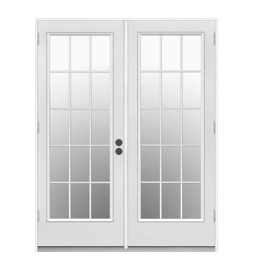 Shop reliabilt 59 5 in 15 lite glass primer white steel for Outside french doors
