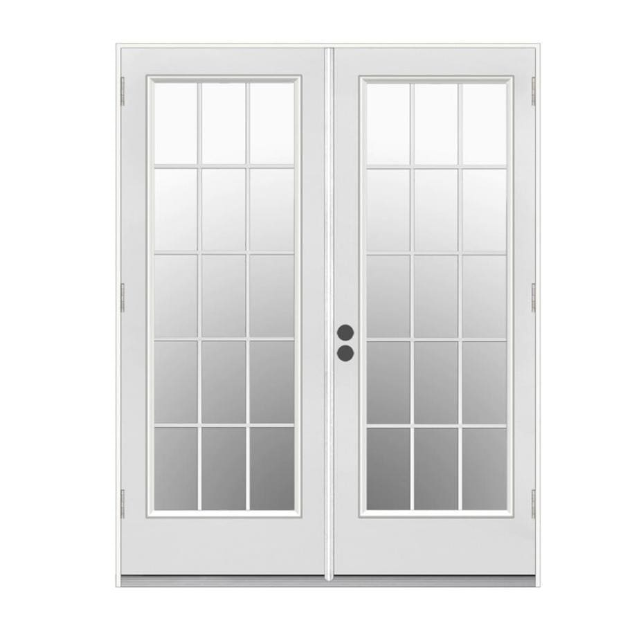 ReliaBilt 59.5-in 15-Lite Glass Primer White Steel French Outswing Patio Door