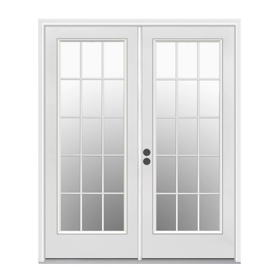 ReliaBilt 59.5-in x 79.5-in Right-Hand Inswing White Steel French Patio Door