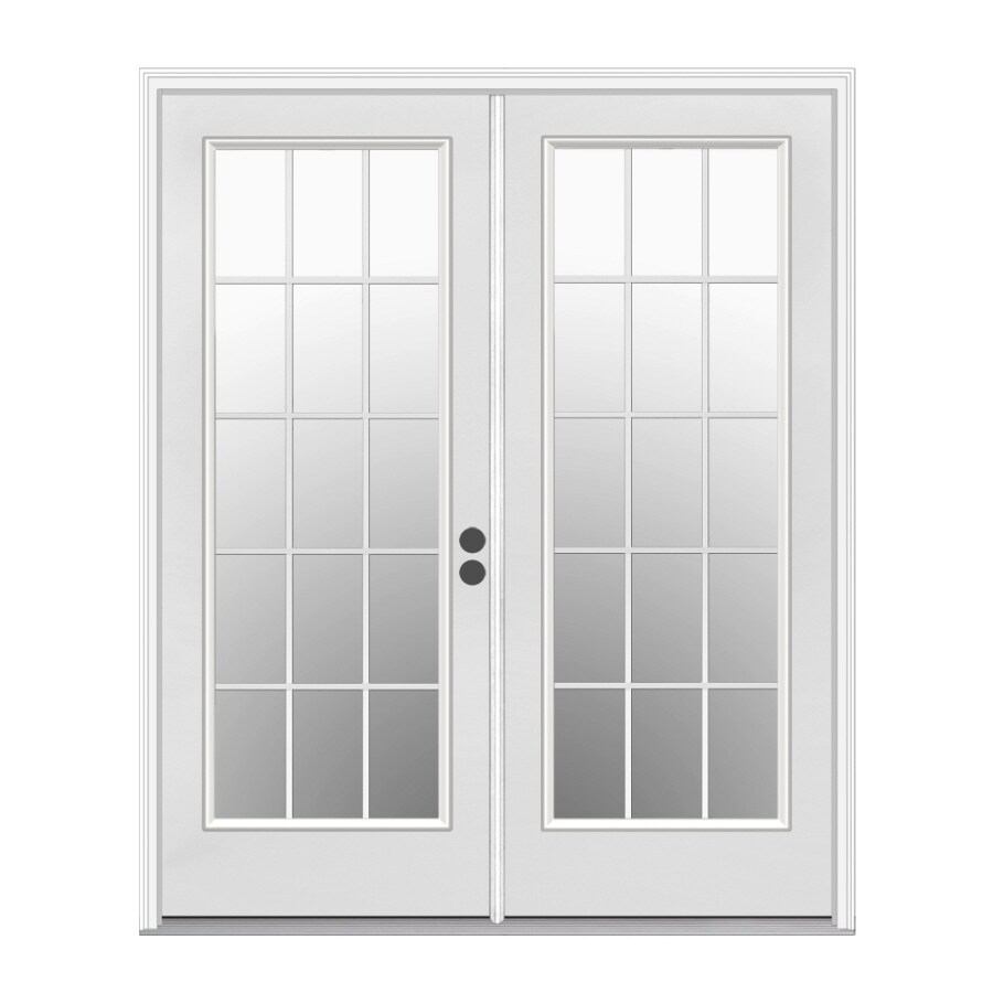 ReliaBilt 59.5-in x 79.5-in Left-Hand Inswing White Steel French Patio Door