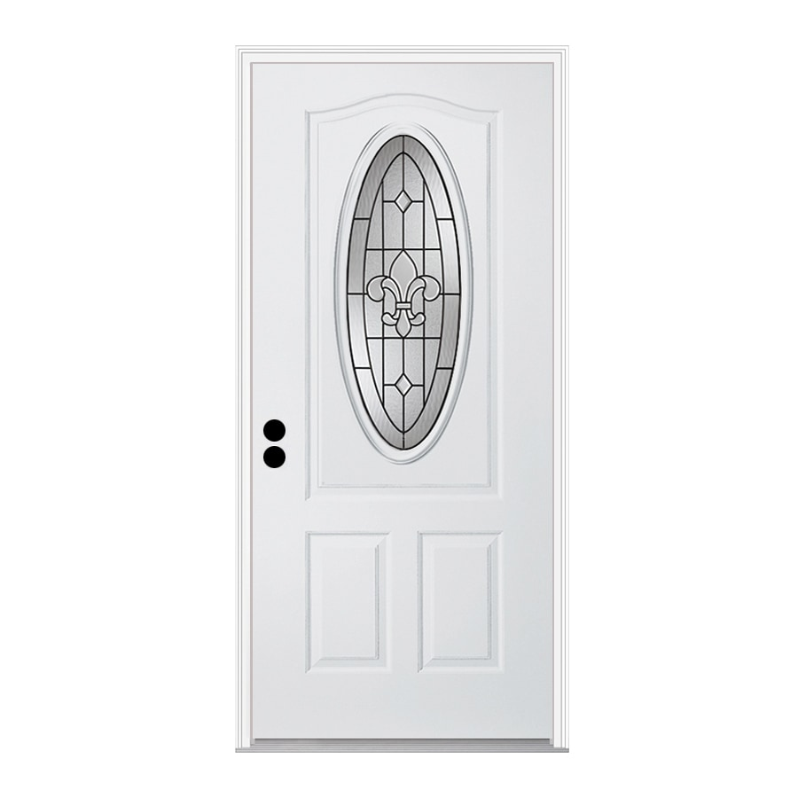 ReliaBilt Nola 1-Panel Insulating Core 3/4 Lite Right-Hand Inswing Steel Primed Prehung Entry Door (Common: 32-in x 80-in; Actual: 33.5-in x 81.75-in)