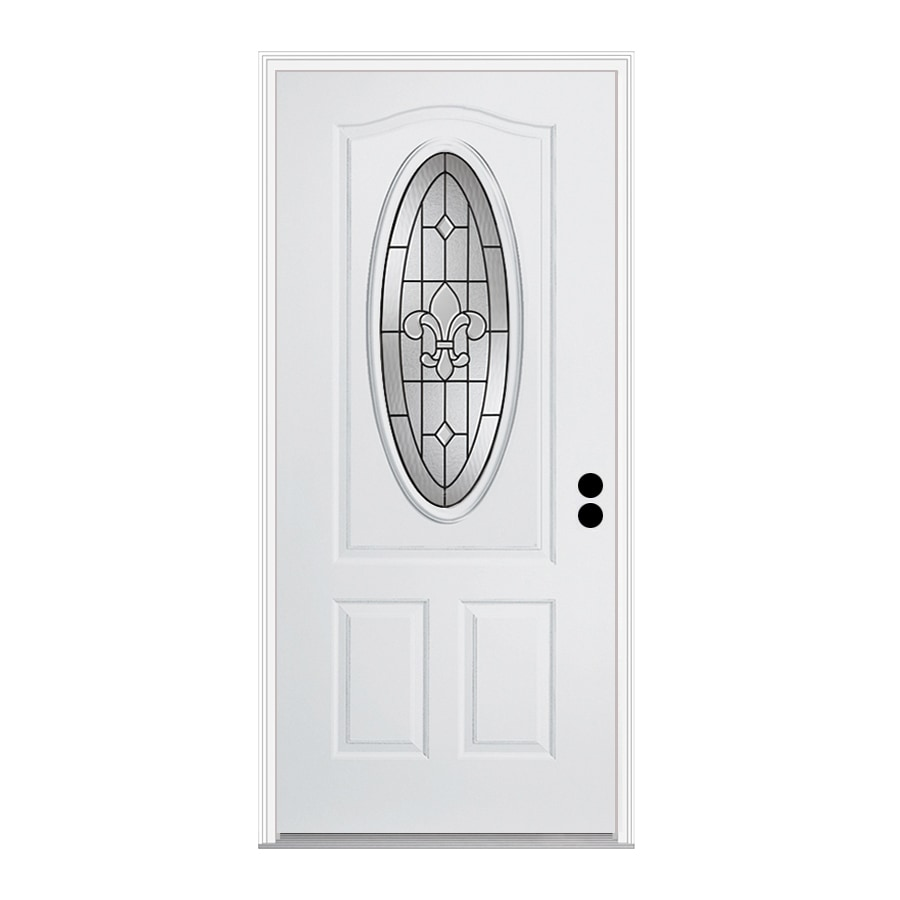 ReliaBilt Nola 1-Panel Insulating Core 3/4 Lite Left-Hand Inswing Steel Primed Prehung Entry Door (Common: 36-in x 80-in; Actual: 37.5-in x 81.75-in)