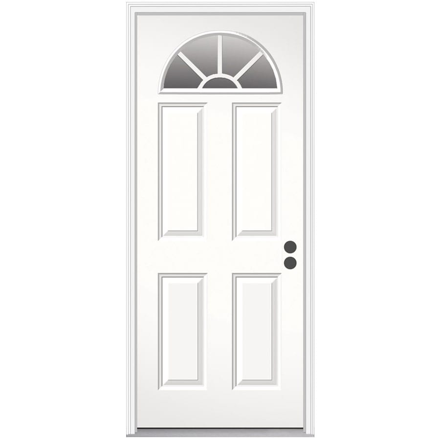 Gentil JELD WEN Decorative Glass Left Hand Inswing Steel Primed Entry Door (Common: