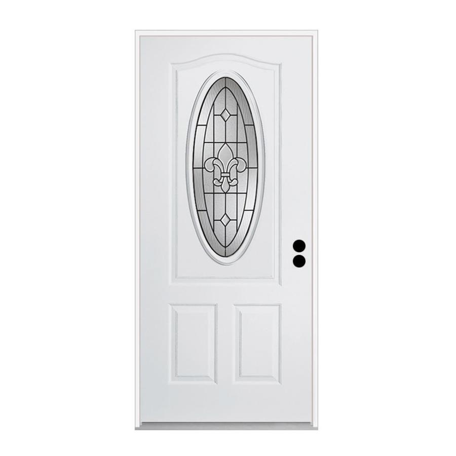 ReliaBilt Nola 1-Panel Insulating Core 3/4 Lite Left-Hand Inswing Primed Steel Prehung Entry Door (Common: 32-in x 80-in; Actual: 33.5-in x 81.75-in)
