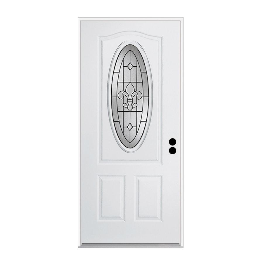 ReliaBilt Nola 1-Panel Insulating Core 3/4 Lite Left-Hand Inswing Primed Steel Primed Prehung Entry Door (Common: 36.0000-in x 80.0000-in; Actual: 37.5000-in x 81.7500-in)