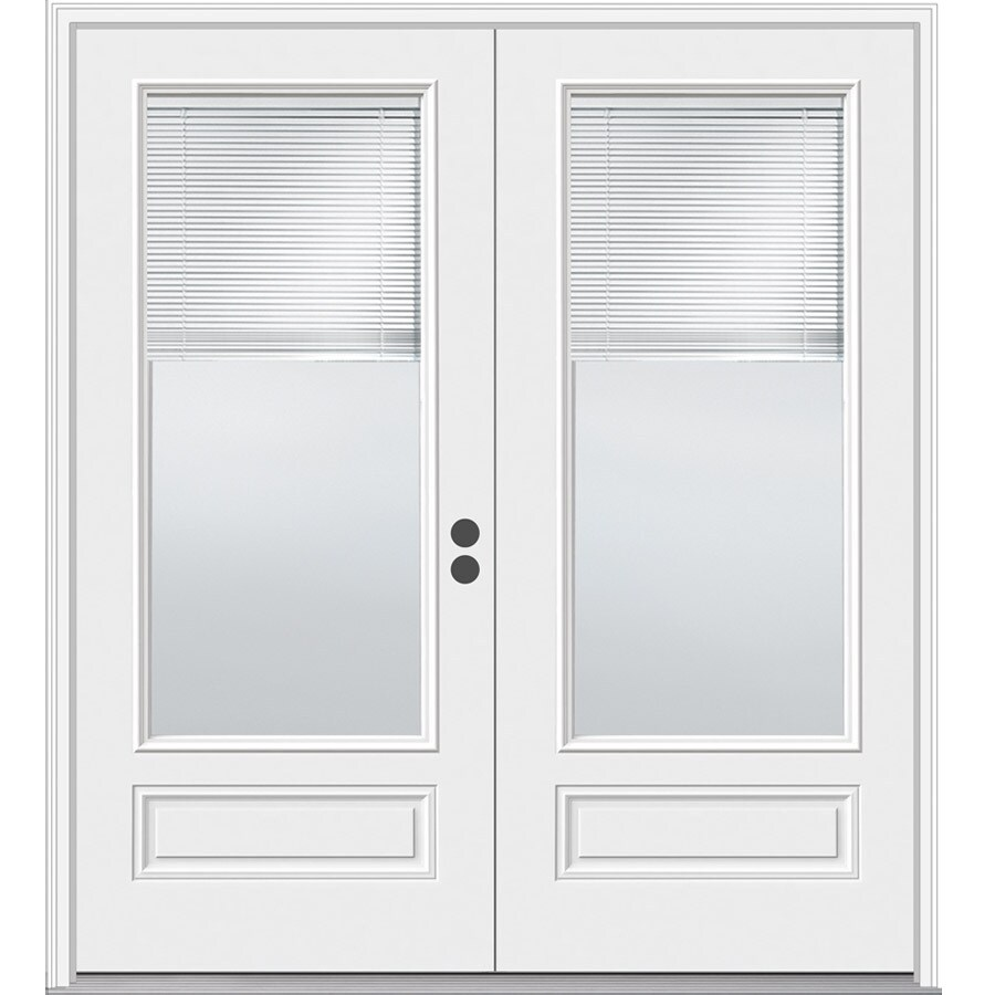 Shop Jeld Wen 71 5 In Blinds Between The Glass Composite French Inswing Patio Door At