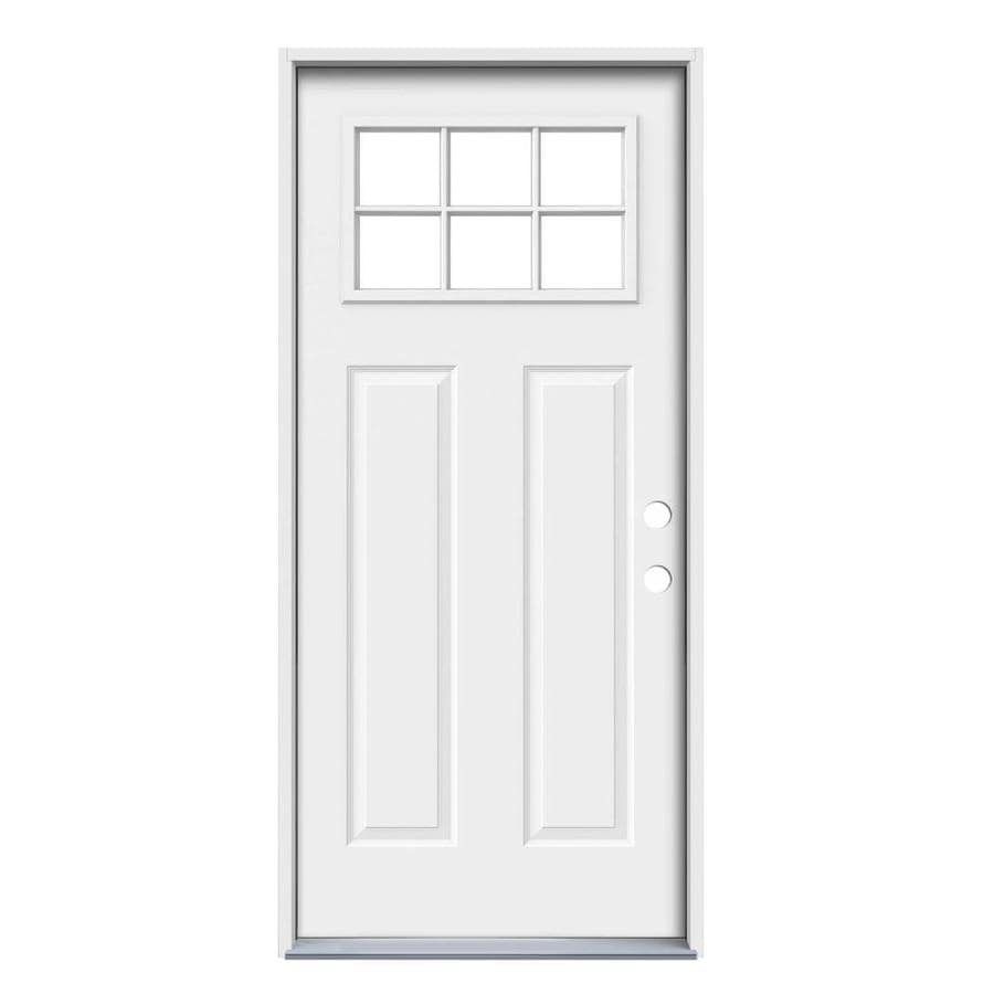 ReliaBilt Craftsman Glass Insulating Core 6-Lite Left-Hand Inswing Primed Steel Prehung Entry Door (Common: 36-in x 80-in; Actual: 37.5-in x 81.75-in)