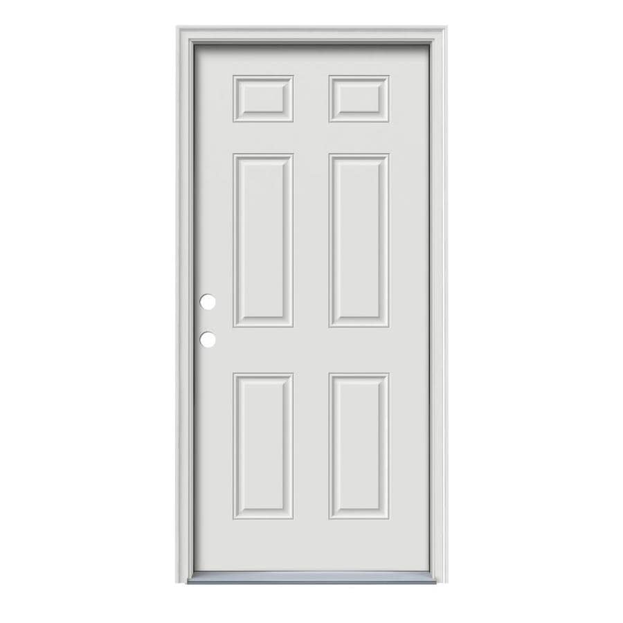 ReliaBilt 6-Panel Insulating Core Right-Hand Inswing Steel Primed Prehung Entry Door (Common: 36-in x 80-in; Actual: 37.5-in x 81.75-in)