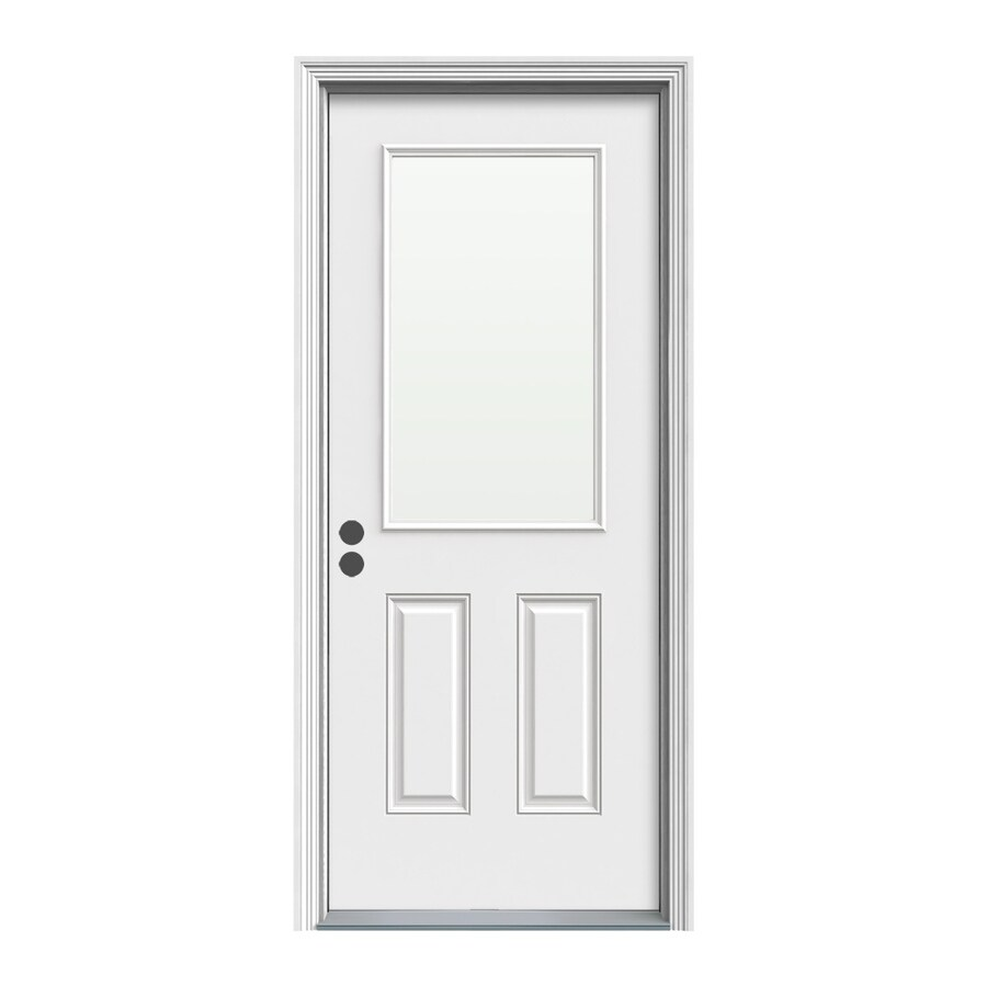 ReliaBilt Decorative Glass Right-Hand Inswing Primed Steel Prehung Entry Door with Insulating Core (Common: 32-in x 80-in; Actual: 33.5000-in x 81.5000-in)