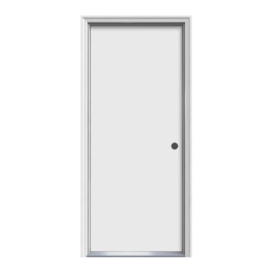 ReliaBilt Decorative Glass Left-Hand Inswing Steel Primed Entry Door (Common: 34-in x 80-in; Actual: 35.5000-in x 81.5000-in)
