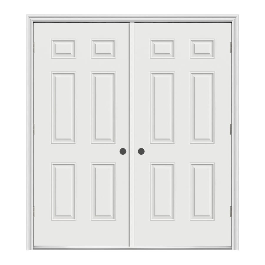 Shop prosteel 62 in x 6 panel prehung outswing steel entry door at - Swinging double doors interior ...